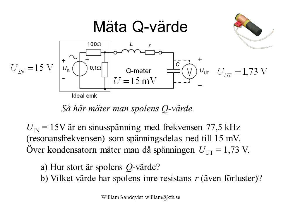 Mäta Q-värde U IN = 15V är en sinusspänning med frekvensen 77,5 kHz (resonansfrekvensen) som spänningsdelas ned till 15 mV. Över kondensatorn mäter ma
