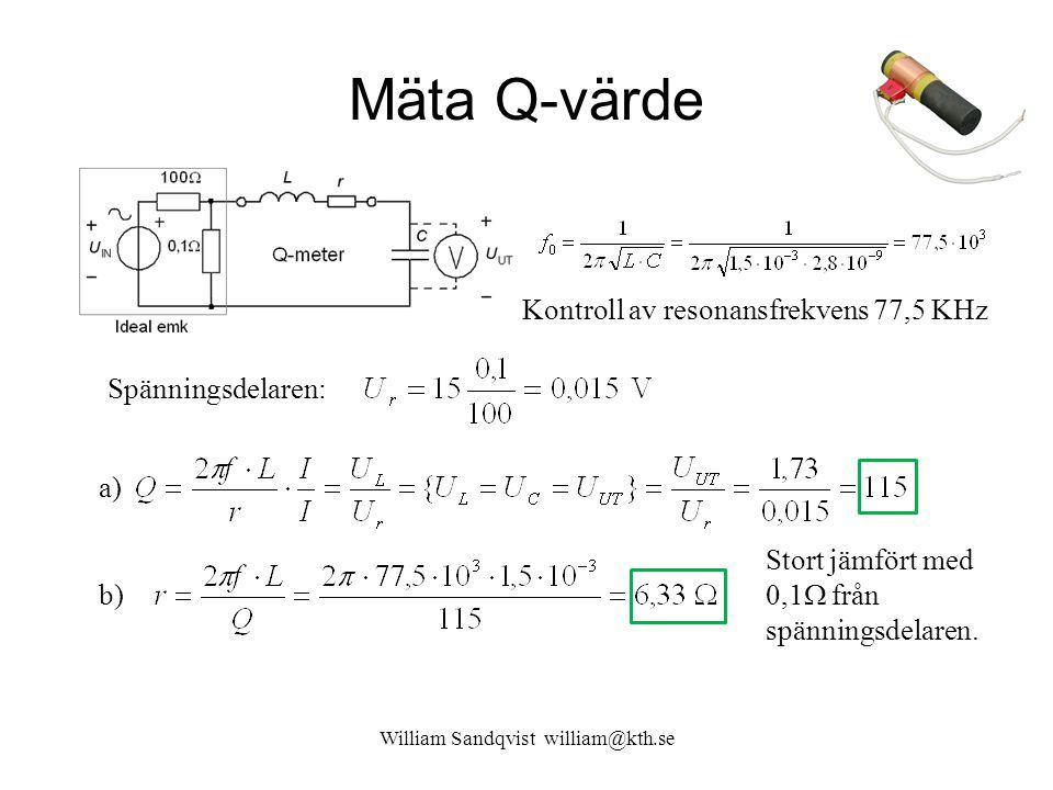 Mäta Q-värde William Sandqvist william@kth.se Kontroll av resonansfrekvens 77,5 KHz Stort jämfört med 0,1  från spänningsdelaren. Spänningsdelaren: a