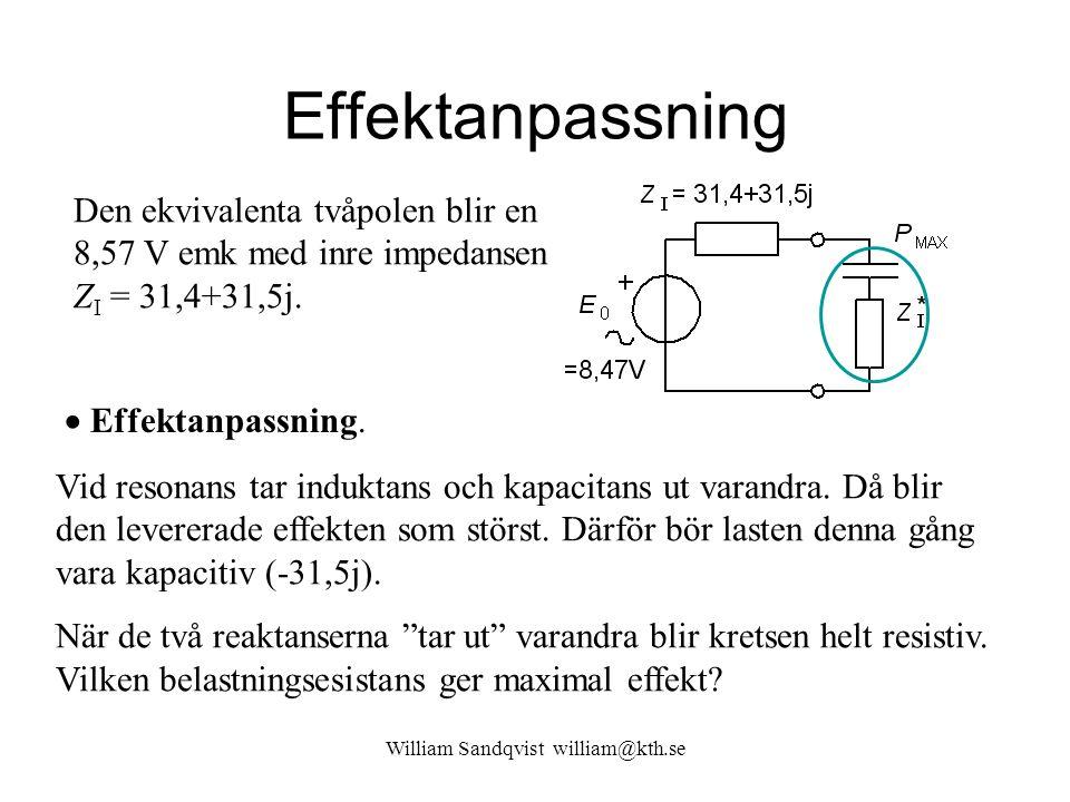 Effektanpassning Den ekvivalenta tvåpolen blir en 8,57 V emk med inre impedansen Z I = 31,4+31,5j. Vid resonans tar induktans och kapacitans ut varand