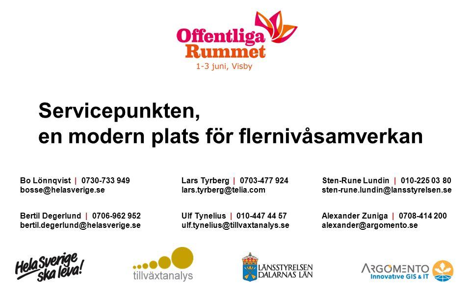 Servicepunkten, en modern plats för flernivåsamverkan Bo Lönnqvist | 0730-733 949 bosse@helasverige.se Bertil Degerlund | 0706-962 952 bertil.degerlun