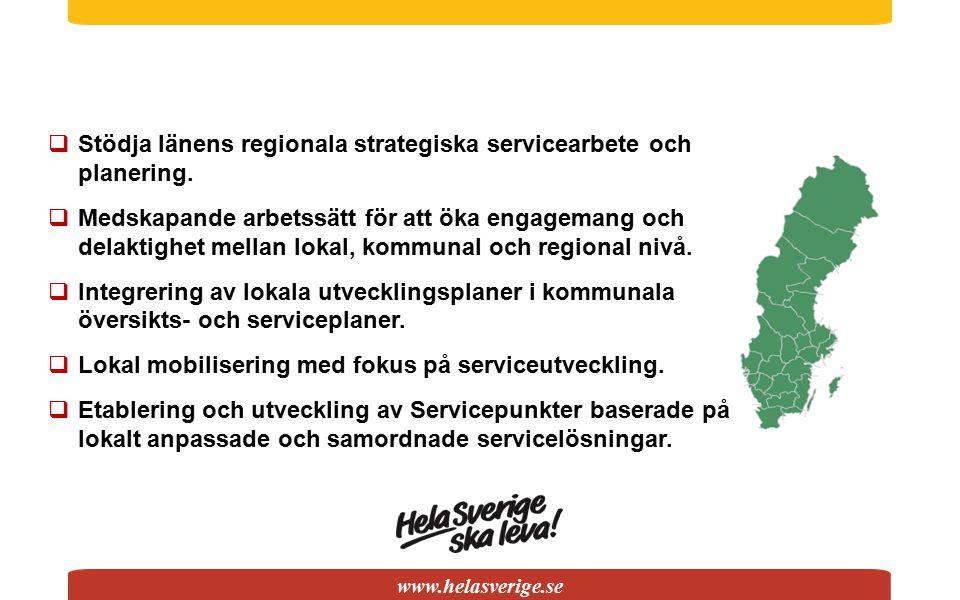 www.helasverige.se  Stödja länens regionala strategiska servicearbete och planering.  Medskapande arbetssätt för att öka engagemang och delaktighet