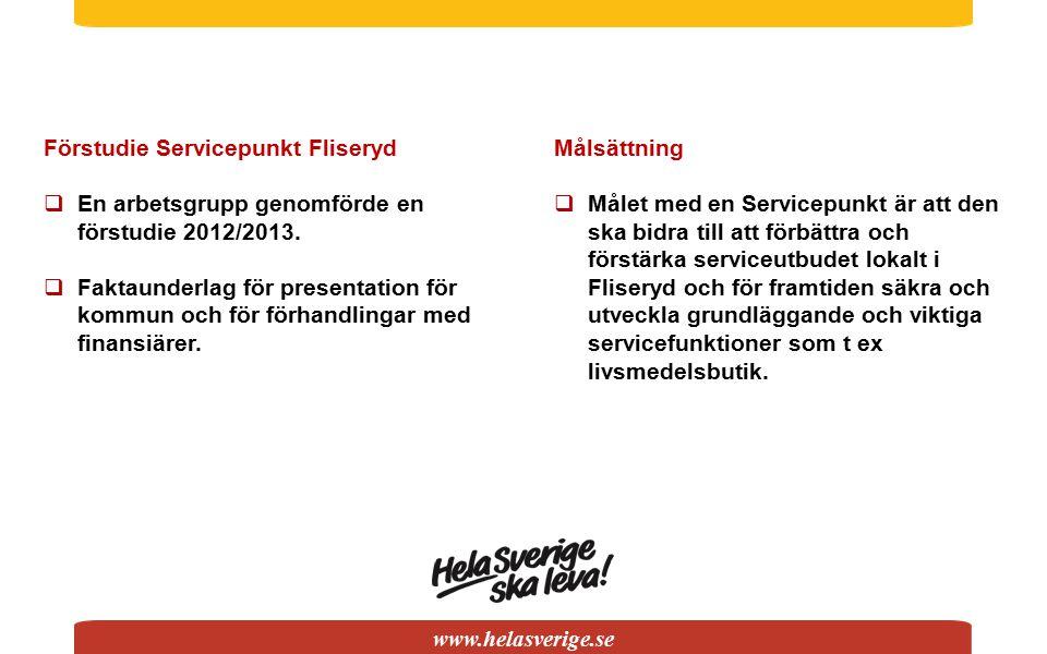www.helasverige.se Förstudie Servicepunkt Fliseryd  En arbetsgrupp genomförde en förstudie 2012/2013.  Faktaunderlag för presentation för kommun och