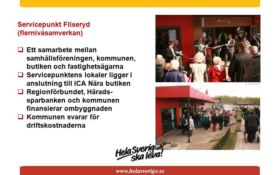 www.helasverige.se Servicepunkt Fliseryd (flernivåsamverkan)  Ett samarbete mellan samhällsföreningen, kommunen, butiken och fastighetsägarna  Servi