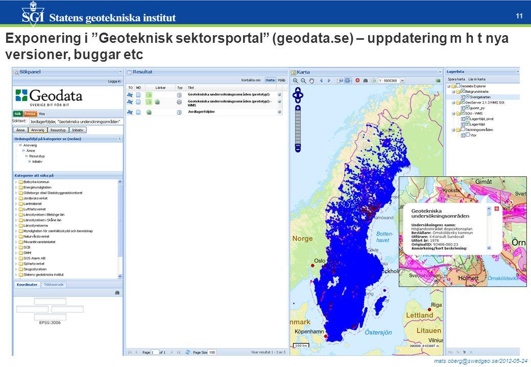 """mats.oberg@swedgeo.se/2012-05-24 11 Exponering i """"Geoteknisk sektorsportal"""" (geodata.se) – uppdatering m h t nya versioner, buggar etc"""