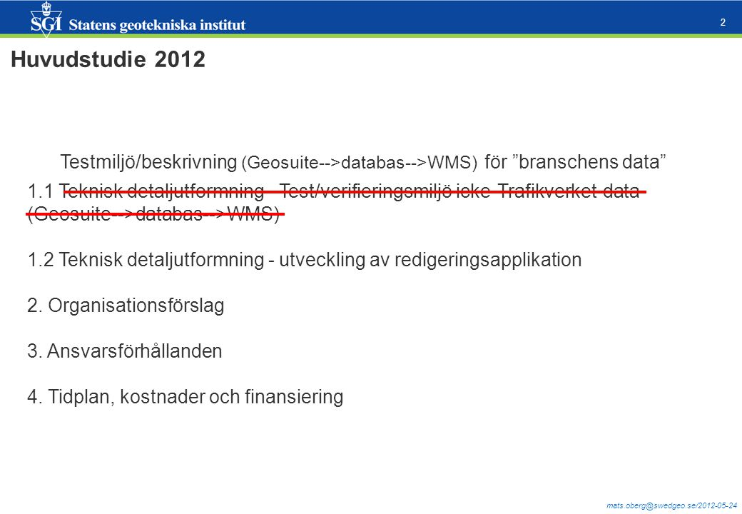 mats.oberg@swedgeo.se/2012-05-24 2 Huvudstudie 2012 Testmiljö/beskrivning (Geosuite-->databas-->WMS) för branschens data 1.1 Teknisk detaljutformning - Test/verifieringsmiljö icke-Trafikverket-data (Geosuite-->databas-->WMS) 1.2 Teknisk detaljutformning - utveckling av redigeringsapplikation 2.