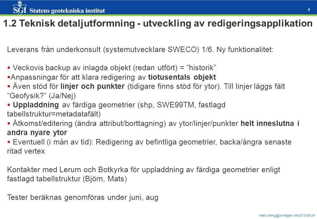mats.oberg@swedgeo.se/2012-05-24 4 1.2 Teknisk detaljutformning - utveckling av redigeringsapplikation Leverans från underkonsult (systemutvecklare SW
