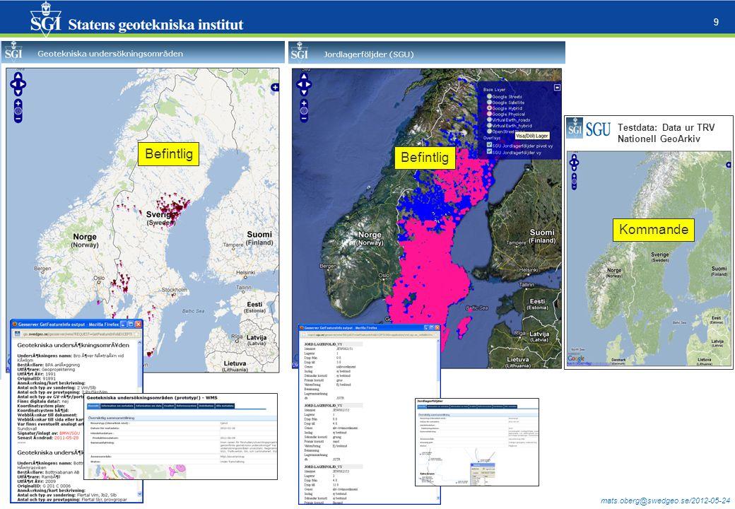 mats.oberg@swedgeo.se/2012-05-24 9 Befintlig Testdata: Data ur TRV Nationell GeoArkiv Kommande