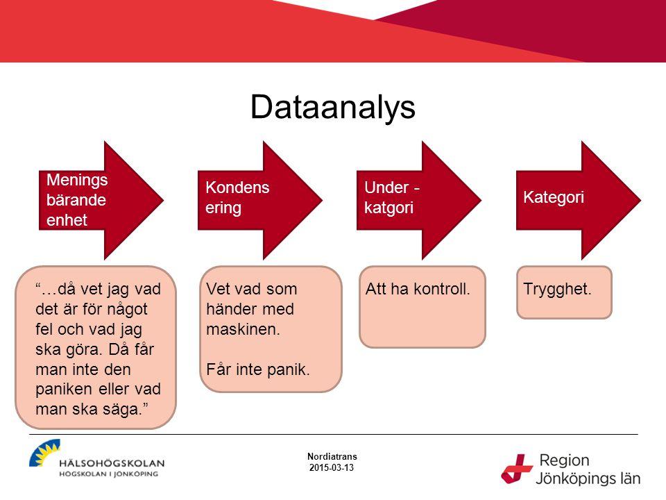 """Dataanalys Nordiatrans 2015-03-13 Menings bärande enhet Kondens ering Under - katgori Kategori """"…då vet jag vad det är för något fel och vad jag ska g"""