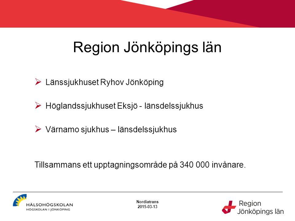Region Jönköpings län  Länssjukhuset Ryhov Jönköping  Höglandssjukhuset Eksjö - länsdelssjukhus  Värnamo sjukhus – länsdelssjukhus Tillsammans ett