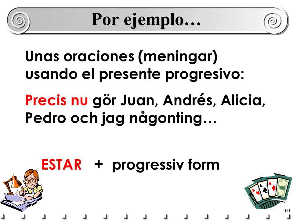 11 Por ejemplo… 1)Juan está escribiendo la carta.2)Andrés y Alicia están comiendo un burrito.