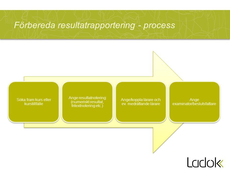 Förbereda resultatrapportering - process Söka fram kurs eller kurstillfälle Ange resultatnotering (numeriskt resultat, fritextnotering etc.) Ange/koppla lärare och ev.
