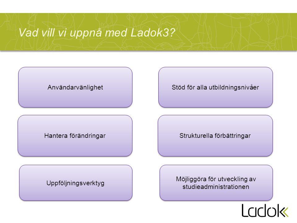 Vad vill vi uppnå med Ladok3? Strukturella förbättringar Stöd för alla utbildningsnivåer Möjliggöra för utveckling av studieadministrationen Hantera f