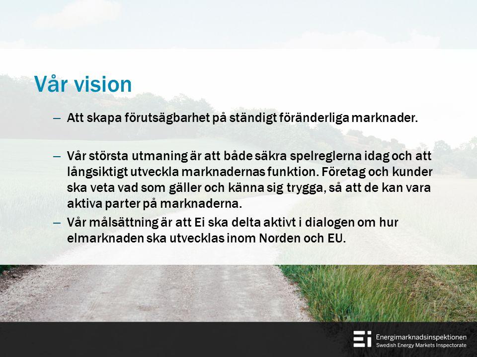 Vårt uppdrag För Sveriges räkning delta i utvecklingen av marknaderna för el och naturgas inom Norden och EU, Samarbeta med europeiska tillsynsmyndigheter och med byrån för samarbete mellan energitillsynsmyndigheter i syfte att verka för en harmonisering av regelverk så att likvärdiga förutsättningar skapas på marknaderna för el och naturgas inom Norden och EU.