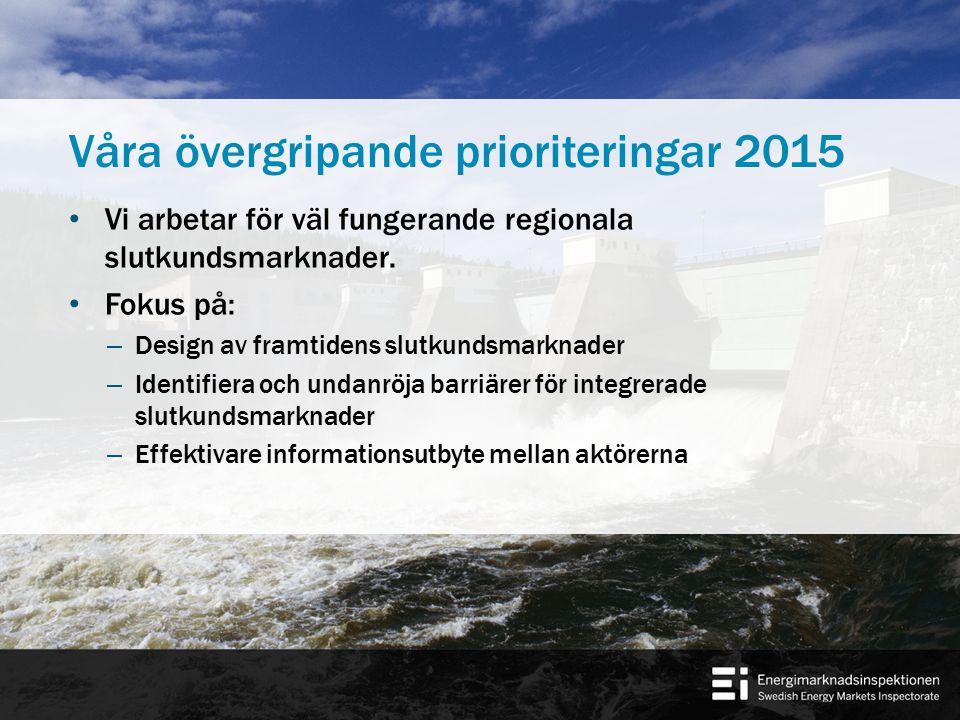 Våra övergripande prioriteringar 2015 Vi arbetar med de frågor som vi bedömer vara kritiska för att uppnå en väl fungerande nordisk och europeisk grossistmarknad för el.