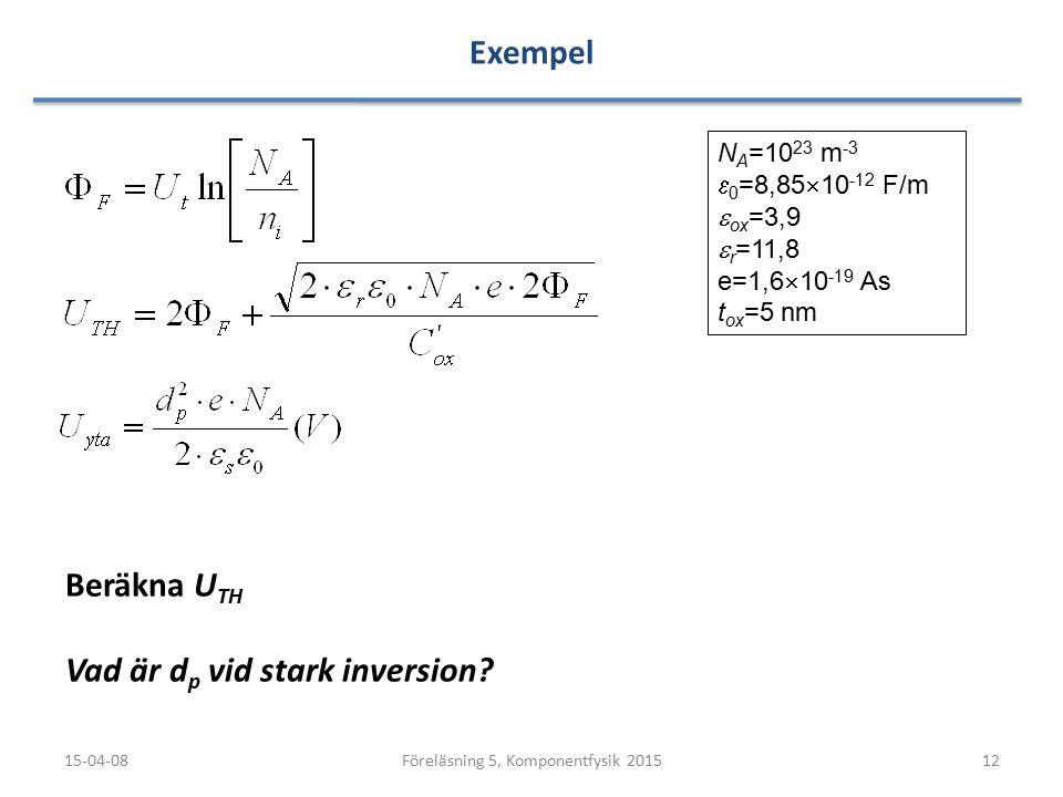 Exempel 15-04-0812Föreläsning 5, Komponentfysik 2015 N A =10 23 m -3  0 =8,85  10 -12 F/m  ox =3,9  r =11,8 e=1,6  10 -19 As t ox =5 nm Beräkna U TH Vad är d p vid stark inversion?