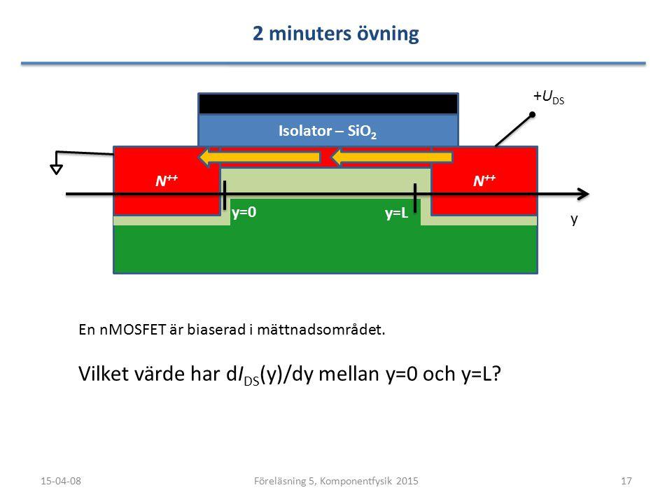 2 minuters övning 15-04-0817Föreläsning 5, Komponentfysik 2015 N ++ Isolator – SiO 2 y +U DS En nMOSFET är biaserad i mättnadsområdet. Vilket värde ha