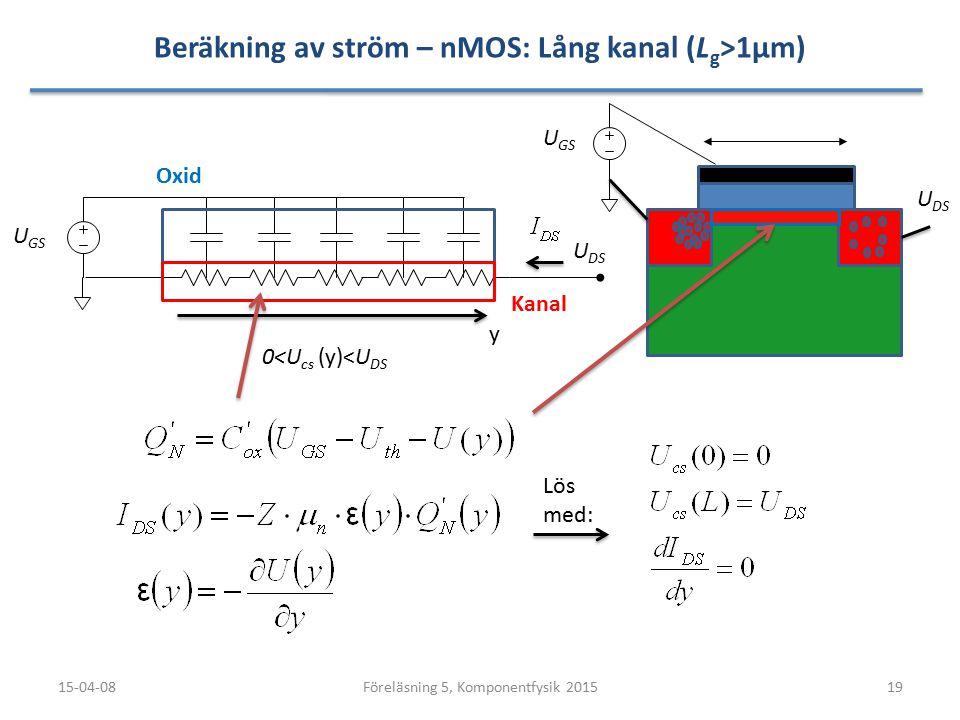 Beräkning av ström – nMOS: Lång kanal (L g >1µm) 15-04-0819Föreläsning 5, Komponentfysik 2015 U DS U GS 0<U cs (y)<U DS y Oxid Kanal U DS U GS Lös med
