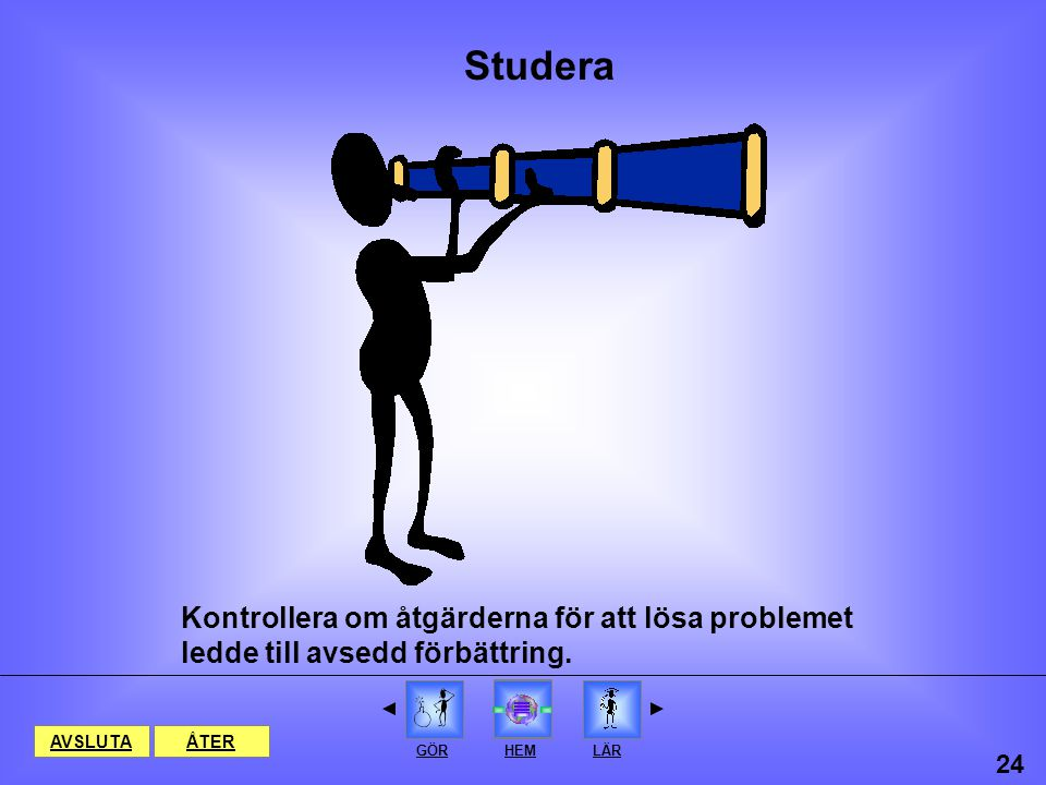 Åtgärda problemet Gör HEMPLANERA STUDERA AVSLUTAÅTER 23