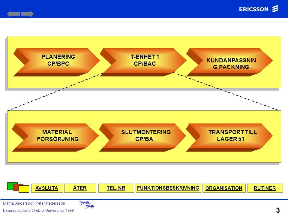 PLANERING SPROCESS CP/BP GODSENHET ANKOMMANDE CP/BG TILLVERKNING CP/B ENHET 1 CP/BA ENHET 2 CP/BB KUNDANPASSNING PACKNING CP/BL STÖD- OCH LEDNINGSPROC