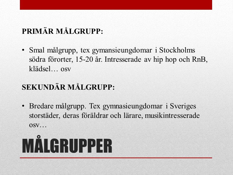 MÅLGRUPPER PRIMÄR MÅLGRUPP: Smal målgrupp, tex gymansieungdomar i Stockholms södra förorter, 15-20 år. Intresserade av hip hop och RnB, klädsel… osv S