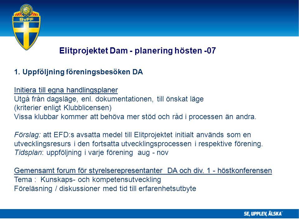 1. Uppföljning föreningsbesöken DA Initiera till egna handlingsplaner Utgå från dagsläge, enl. dokumentationen, till önskat läge (kriterier enligt Klu