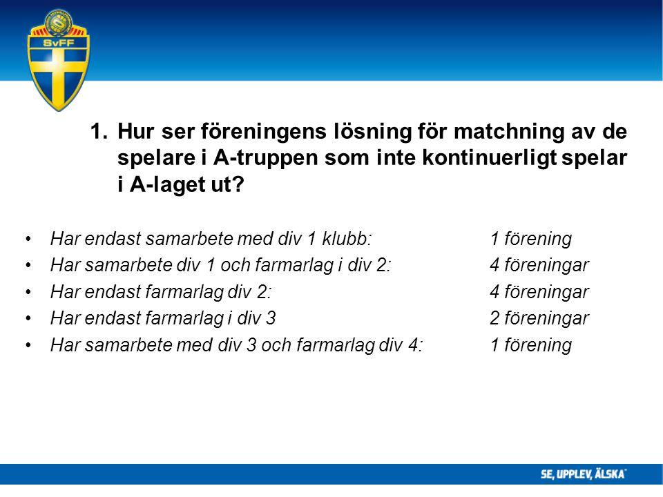 1. Hur ser föreningens lösning för matchning av de spelare i A-truppen som inte kontinuerligt spelar i A-laget ut? Har endast samarbete med div 1 klub