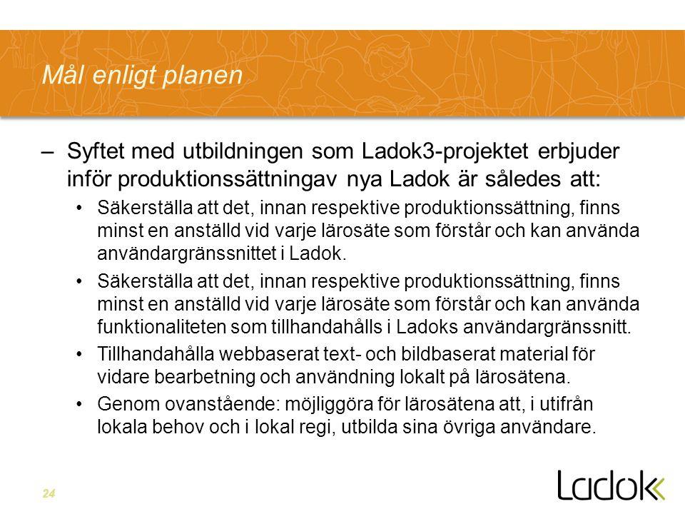 24 Mål enligt planen –Syftet med utbildningen som Ladok3-projektet erbjuder inför produktionssättningav nya Ladok är således att: Säkerställa att det, innan respektive produktionssättning, finns minst en anställd vid varje lärosäte som förstår och kan använda användargränssnittet i Ladok.