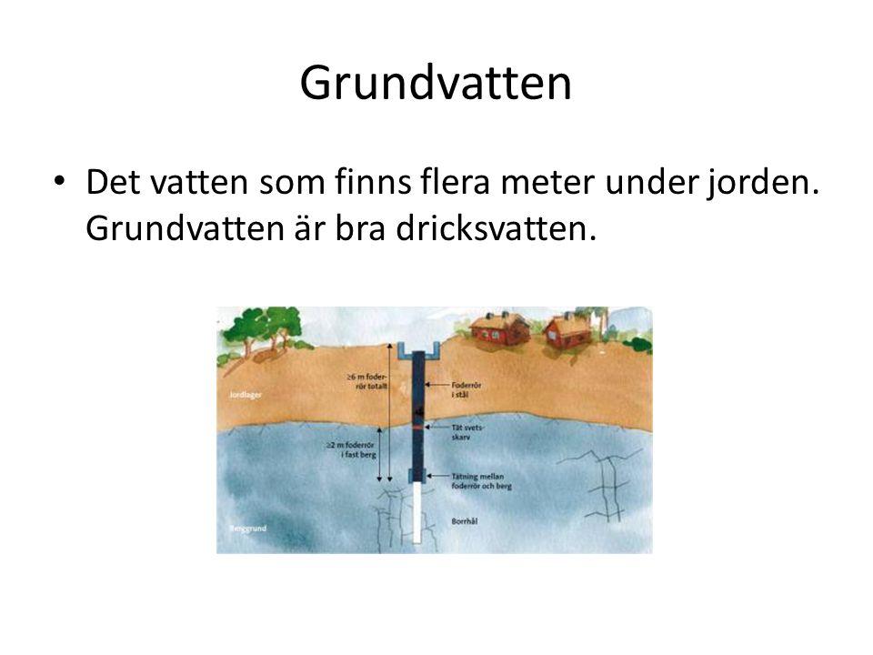 Grundvatten Det vatten som finns flera meter under jorden. Grundvatten är bra dricksvatten.