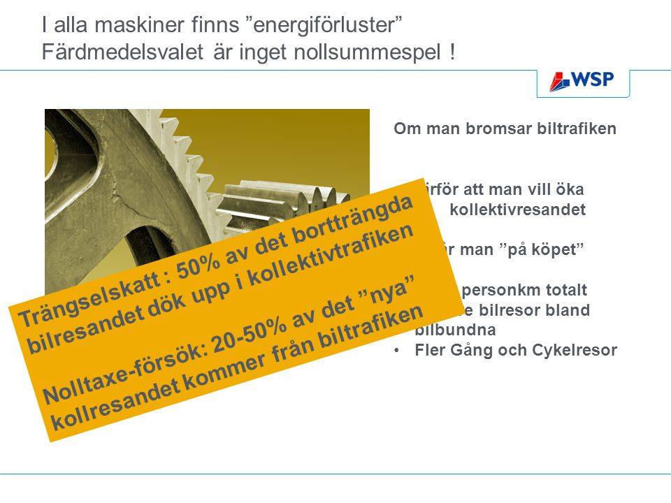 I alla maskiner finns energiförluster Färdmedelsvalet är inget nollsummespel .