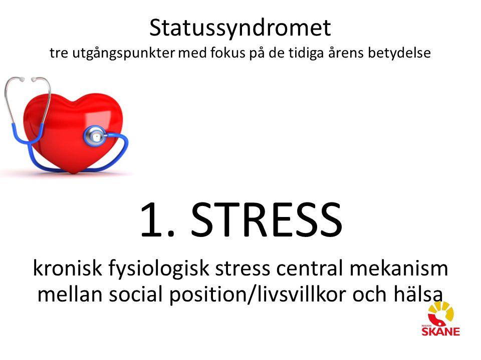 Statussyndromet tre utgångspunkter med fokus på de tidiga årens betydelse 1. STRESS kronisk fysiologisk stress central mekanism mellan social position