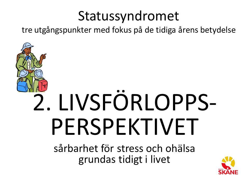 2. LIVSFÖRLOPPS- PERSPEKTIVET sårbarhet för stress och ohälsa grundas tidigt i livet Statussyndromet tre utgångspunkter med fokus på de tidiga årens b