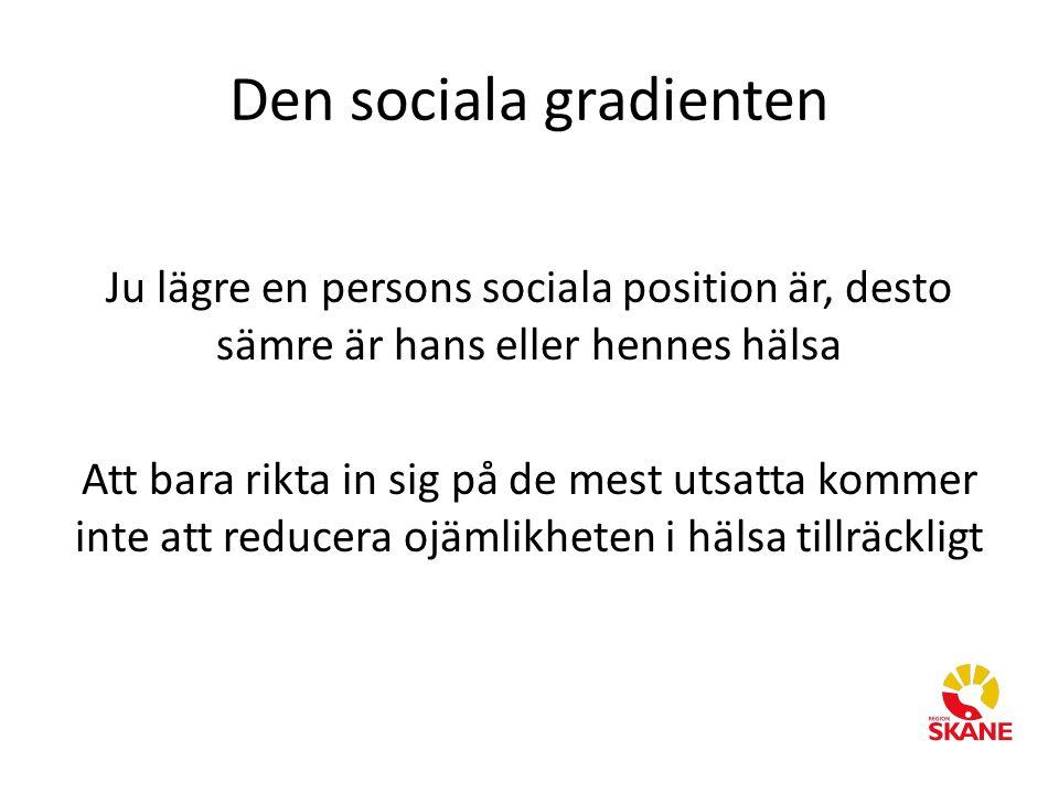 Den sociala gradienten Ju lägre en persons sociala position är, desto sämre är hans eller hennes hälsa Att bara rikta in sig på de mest utsatta kommer