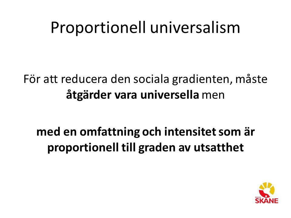 Proportionell universalism För att reducera den sociala gradienten, måste åtgärder vara universella men med en omfattning och intensitet som är propor
