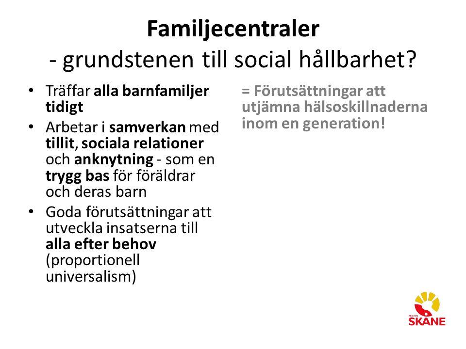 Familjecentraler - grundstenen till social hållbarhet? Träffar alla barnfamiljer tidigt Arbetar i samverkan med tillit, sociala relationer och anknytn