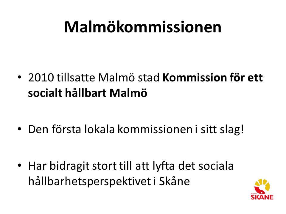 Malmökommissionen 2010 tillsatte Malmö stad Kommission för ett socialt hållbart Malmö Den första lokala kommissionen i sitt slag! Har bidragit stort t