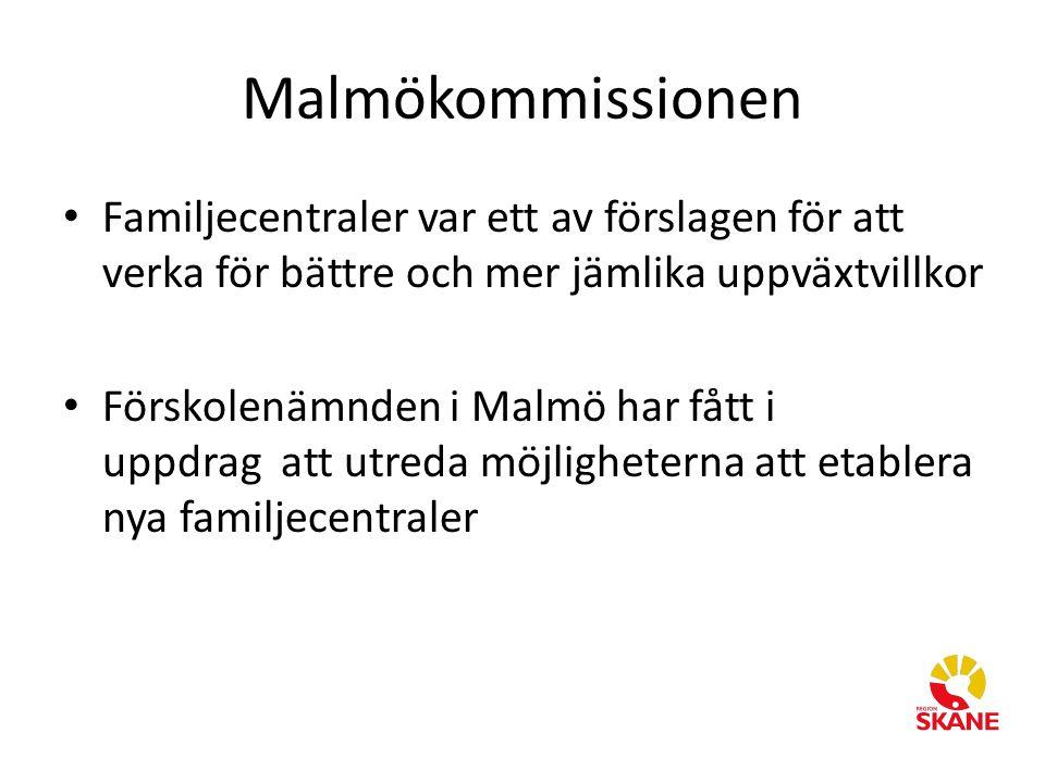 Malmökommissionen Familjecentraler var ett av förslagen för att verka för bättre och mer jämlika uppväxtvillkor Förskolenämnden i Malmö har fått i upp