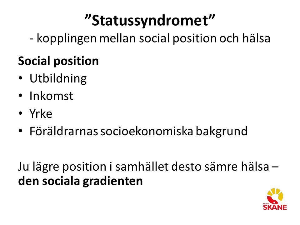 """""""Statussyndromet"""" - kopplingen mellan social position och hälsa Social position Utbildning Inkomst Yrke Föräldrarnas socioekonomiska bakgrund Ju lägre"""