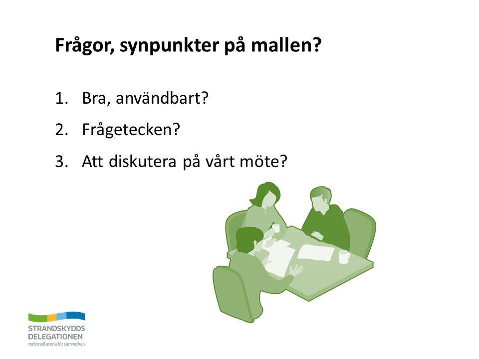Frågor, synpunkter på mallen? 1.Bra, användbart? 2.Frågetecken? 3.Att diskutera på vårt möte?