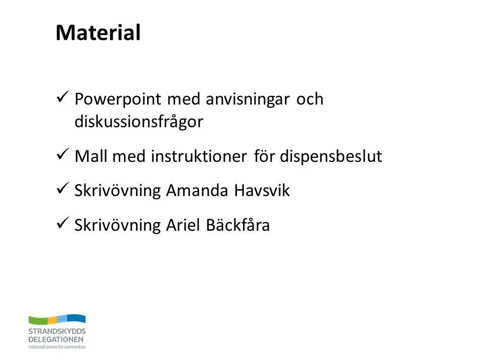 Material Powerpoint med anvisningar och diskussionsfrågor Mall med instruktioner för dispensbeslut Skrivövning Amanda Havsvik Skrivövning Ariel Bäckfåra