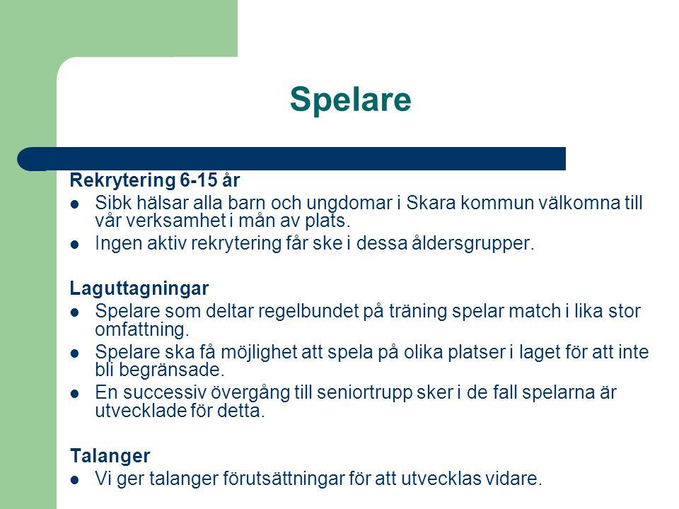 Spelare Rekrytering 6-15 år Sibk hälsar alla barn och ungdomar i Skara kommun välkomna till vår verksamhet i mån av plats.