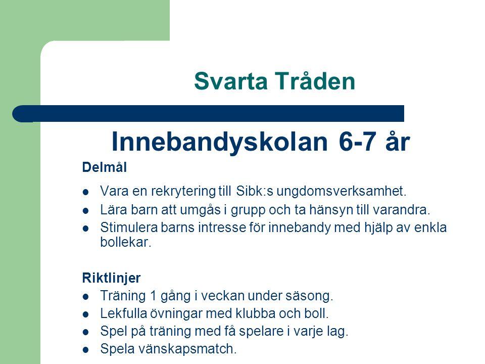 Svarta Tråden Innebandyskolan 6-7 år Delmål Vara en rekrytering till Sibk:s ungdomsverksamhet.