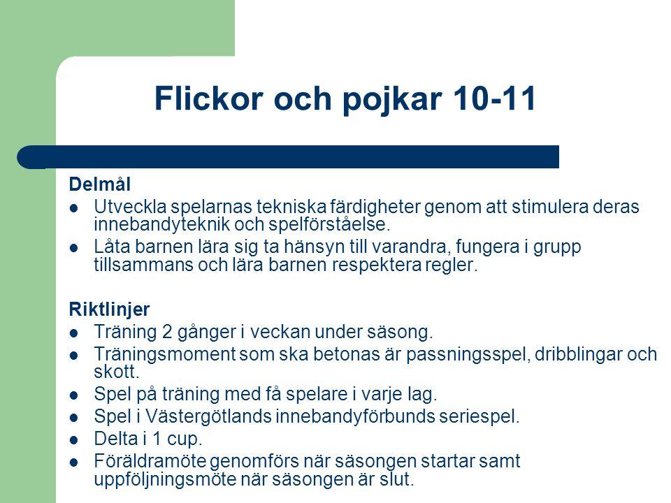 Pojkar och flickor 12-13 år Delmål Fortsätta att stimulera spelarnas tekniska färdigheter och utveckla deras fotbollskunnande genom rolig och meningsfull träning.