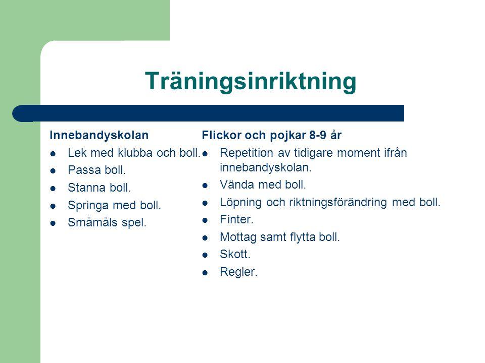 Träningsinriktning Innebandyskolan Lek med klubba och boll.