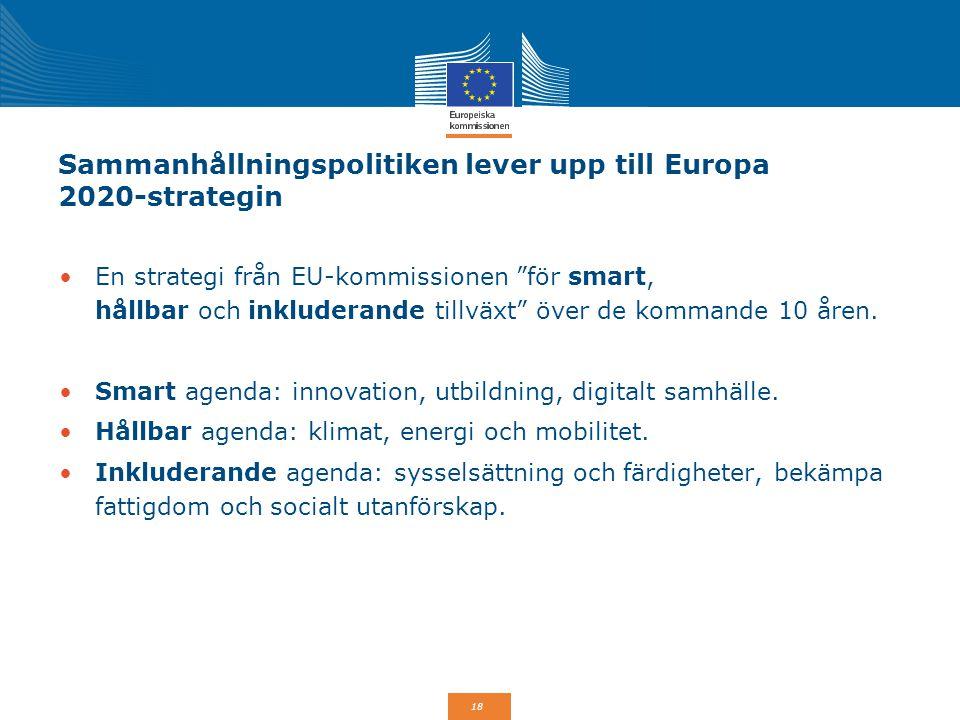 """18 Sammanhållningspolitiken lever upp till Europa 2020-strategin En strategi från EU-kommissionen """"för smart, hållbar och inkluderande tillväxt"""" över"""