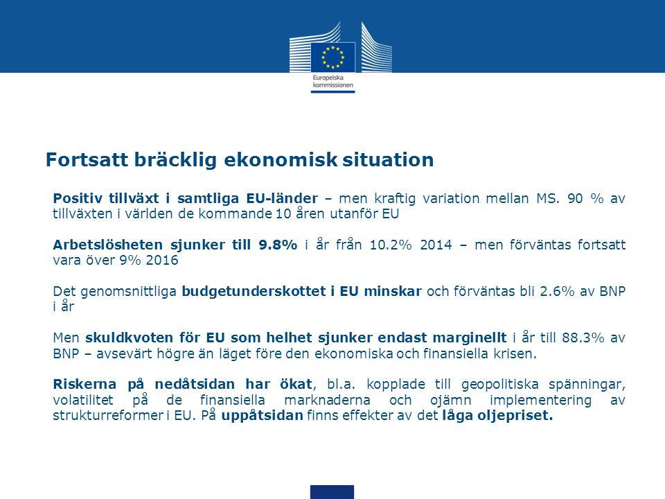 Fortsatt bräcklig ekonomisk situation Positiv tillväxt i samtliga EU-länder – men kraftig variation mellan MS. 90 % av tillväxten i världen de kommand