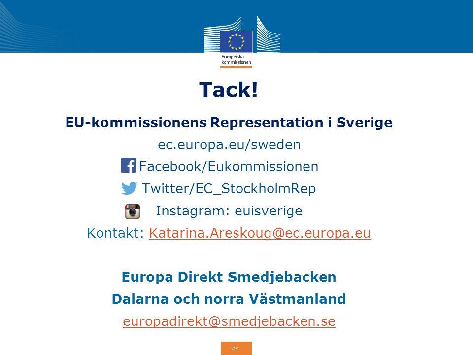 23 Tack! EU-kommissionens Representation i Sverige ec.europa.eu/sweden Facebook/Eukommissionen Twitter/EC_StockholmRep Instagram: euisverige Kontakt: