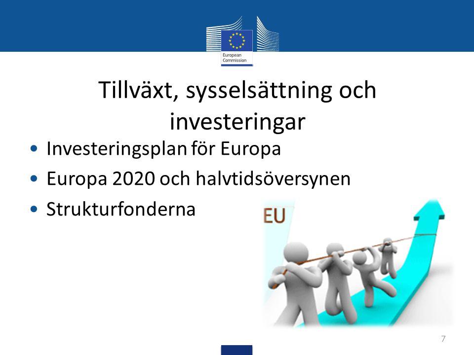 Tillväxt, sysselsättning och investeringar Investeringsplan för Europa Europa 2020 och halvtidsöversynen Strukturfonderna 7