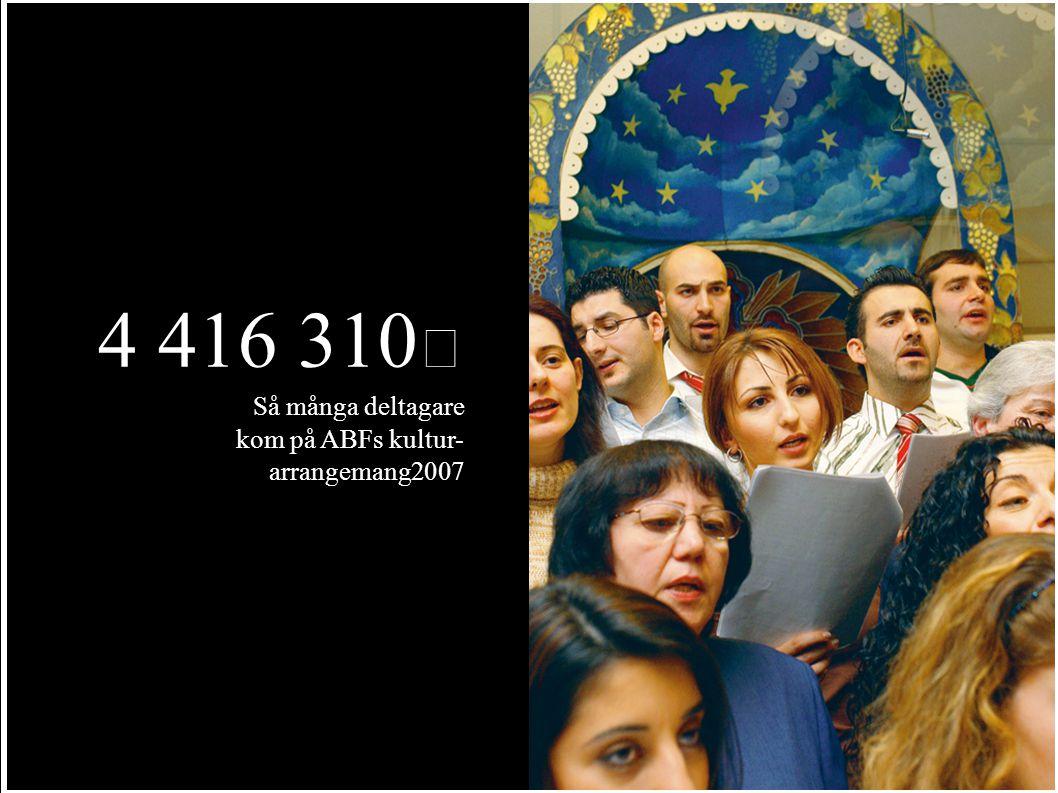 4 416 310 Så många deltagare kom på ABFs kultur- arrangemang2007