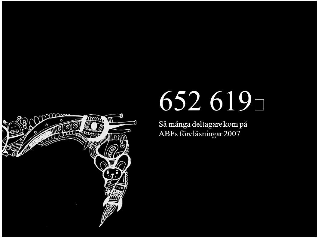 652 619 Så många deltagare kom på ABFs föreläsningar 2007
