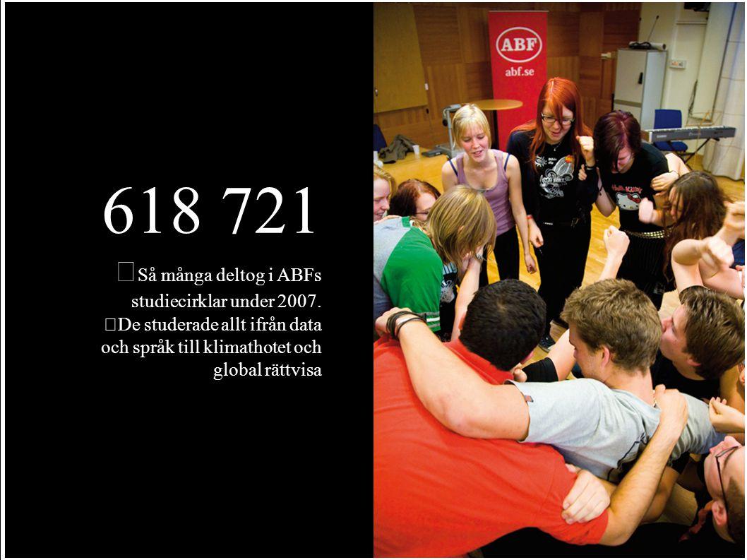 618 721 Så många deltog i ABFs studiecirklar under 2007.